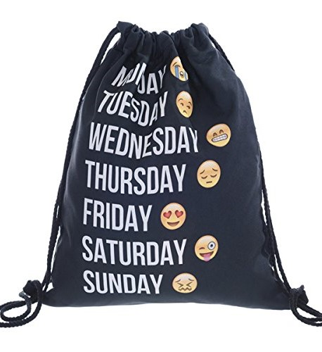 Drawstring Bag with Days of the Week Design